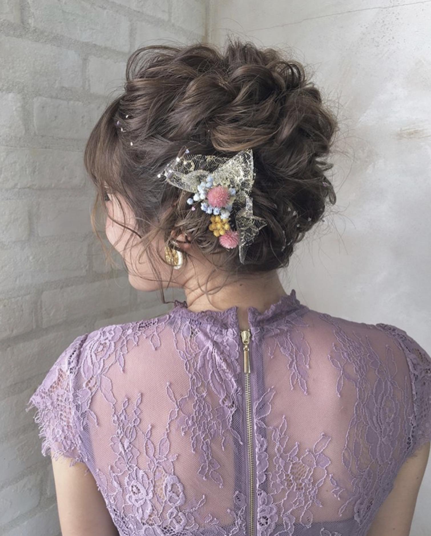 結婚式 二次会 ヘアメイク イベント デート まとめ髪 編み込み