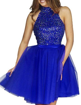 Amazon.com: Lovelybride High Neck Beaded Bodice Homecoming Dress Short Tulle…
