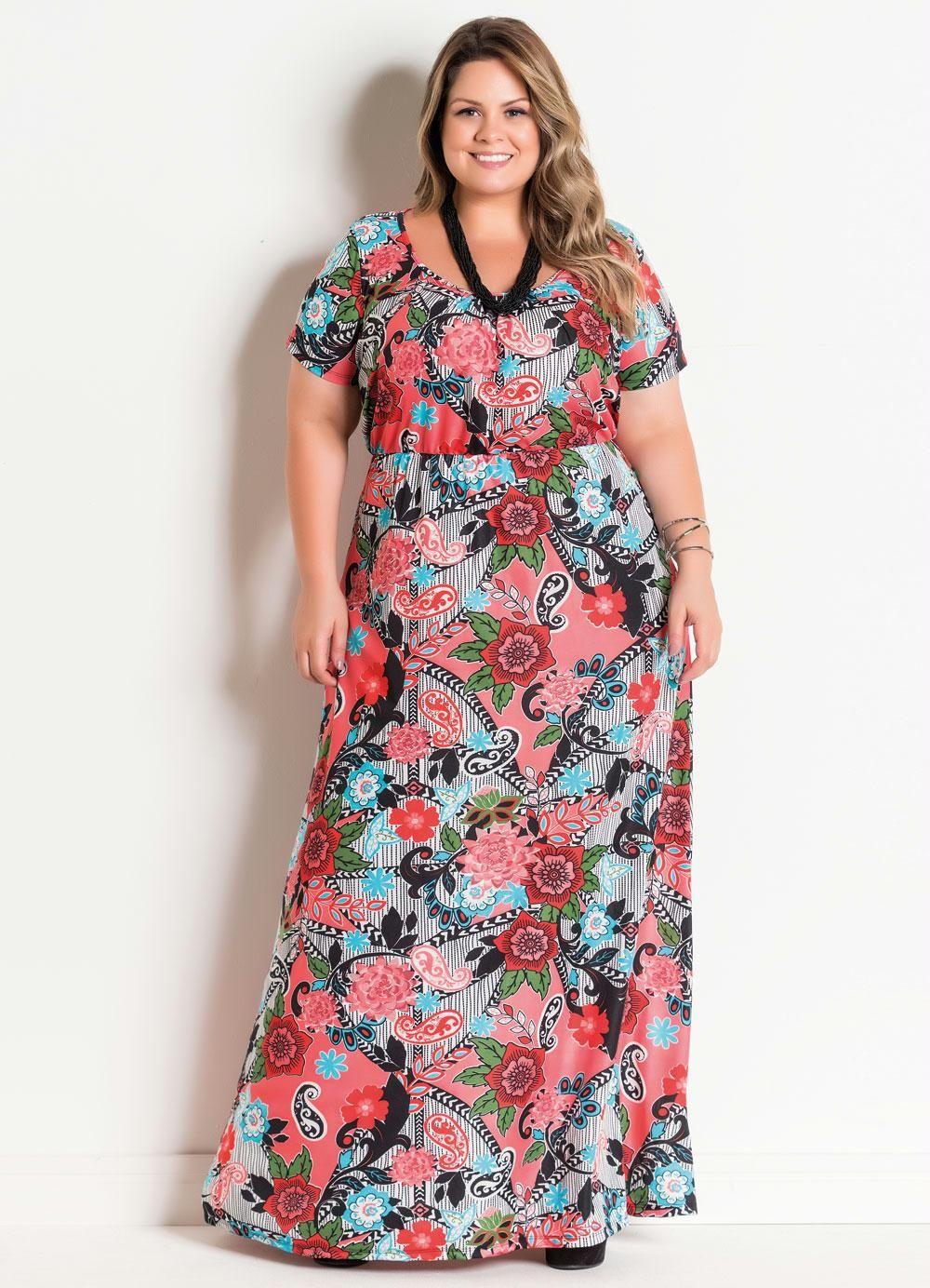 5167ffdb7a23 Vestido com Decote Redondo Plus Size Cashmere - Marguerite   Plus ...