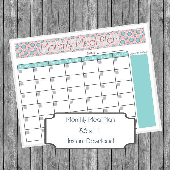 Monthly Meal Planner Printable