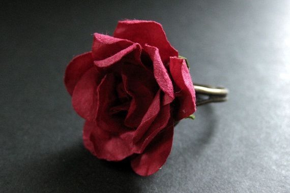 Burgundy Rose Ring. Maroon Flower. Paper Flower Ring. Paper Rose Ring. Adjustable Ring in Bronze. Handmade Jewelry. by StumblingOnSainthood from Stumbling On Sainthood. Find it now at http://ift.tt/1Sc0taP!