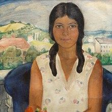 Portrait of a Girl with Landscape of Ticino, Switzerland, 1930