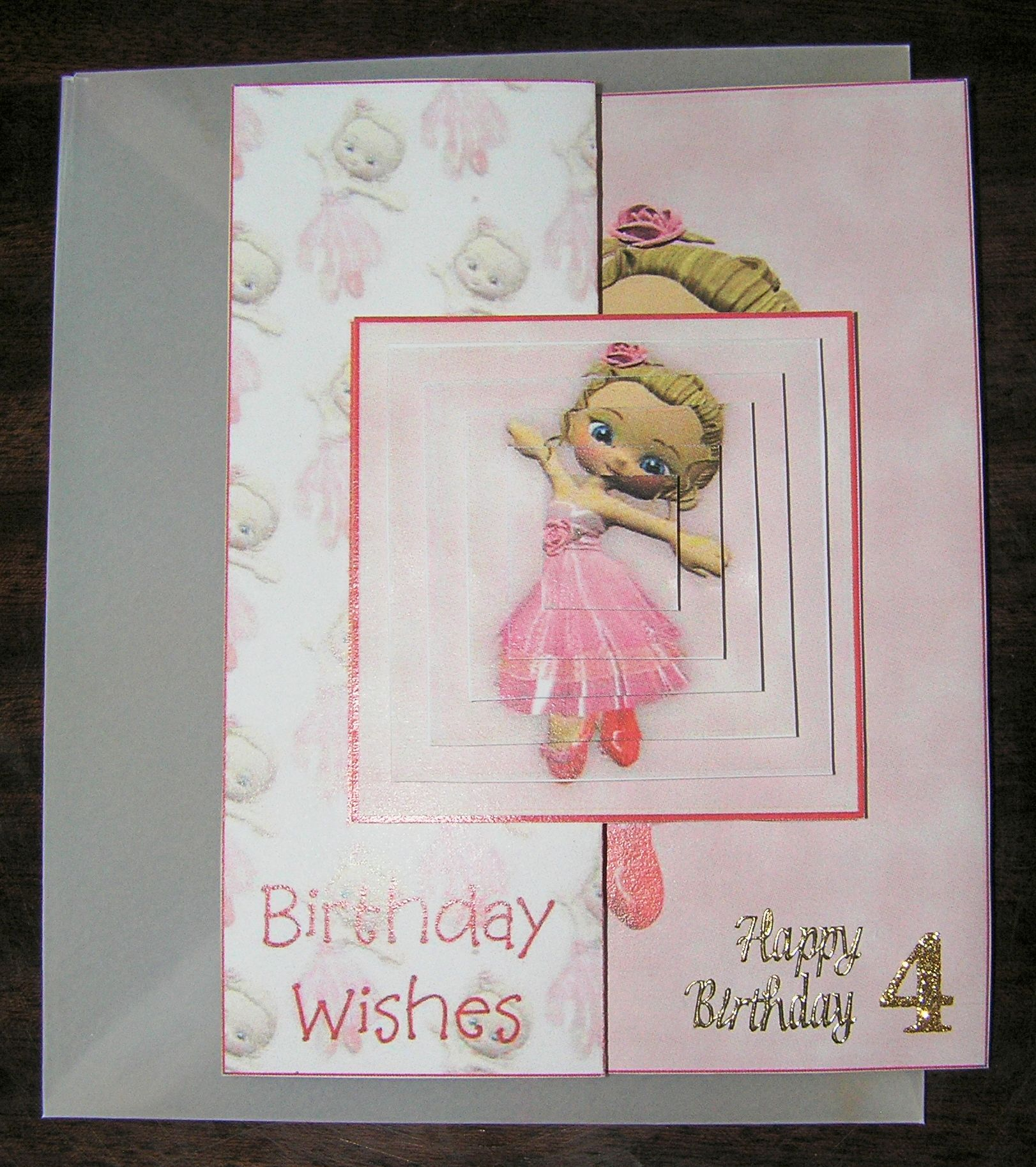 Birthday card for a 4year old girl happy wishes