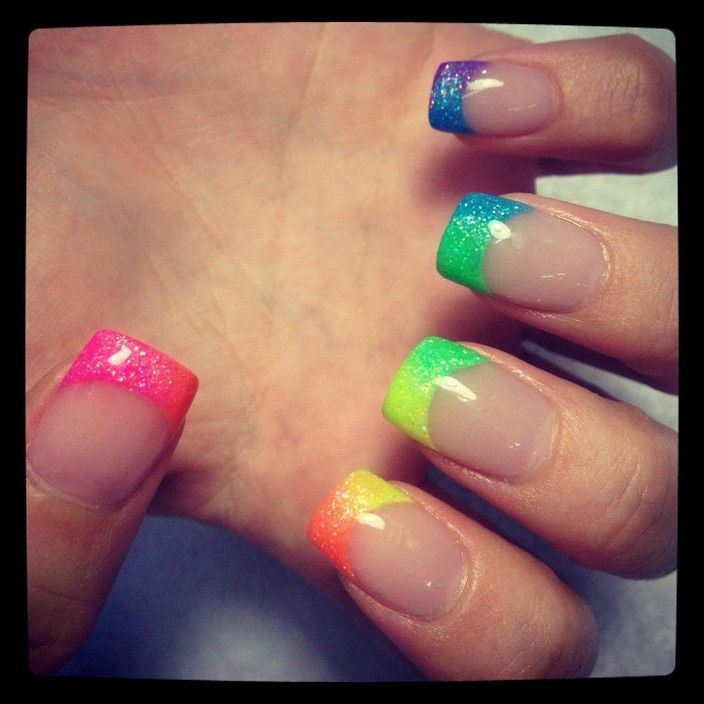 Rainbow French Tip Nails - See our selection at http://www ...