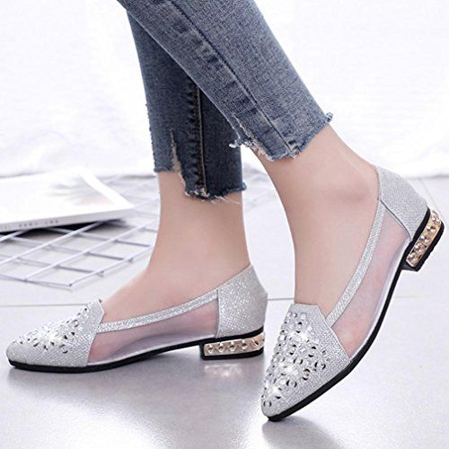 cc22c2148506b DENER Women Ladies Girls Flat Shoes,Mesh Sparkly Glitter Slip on Low ...