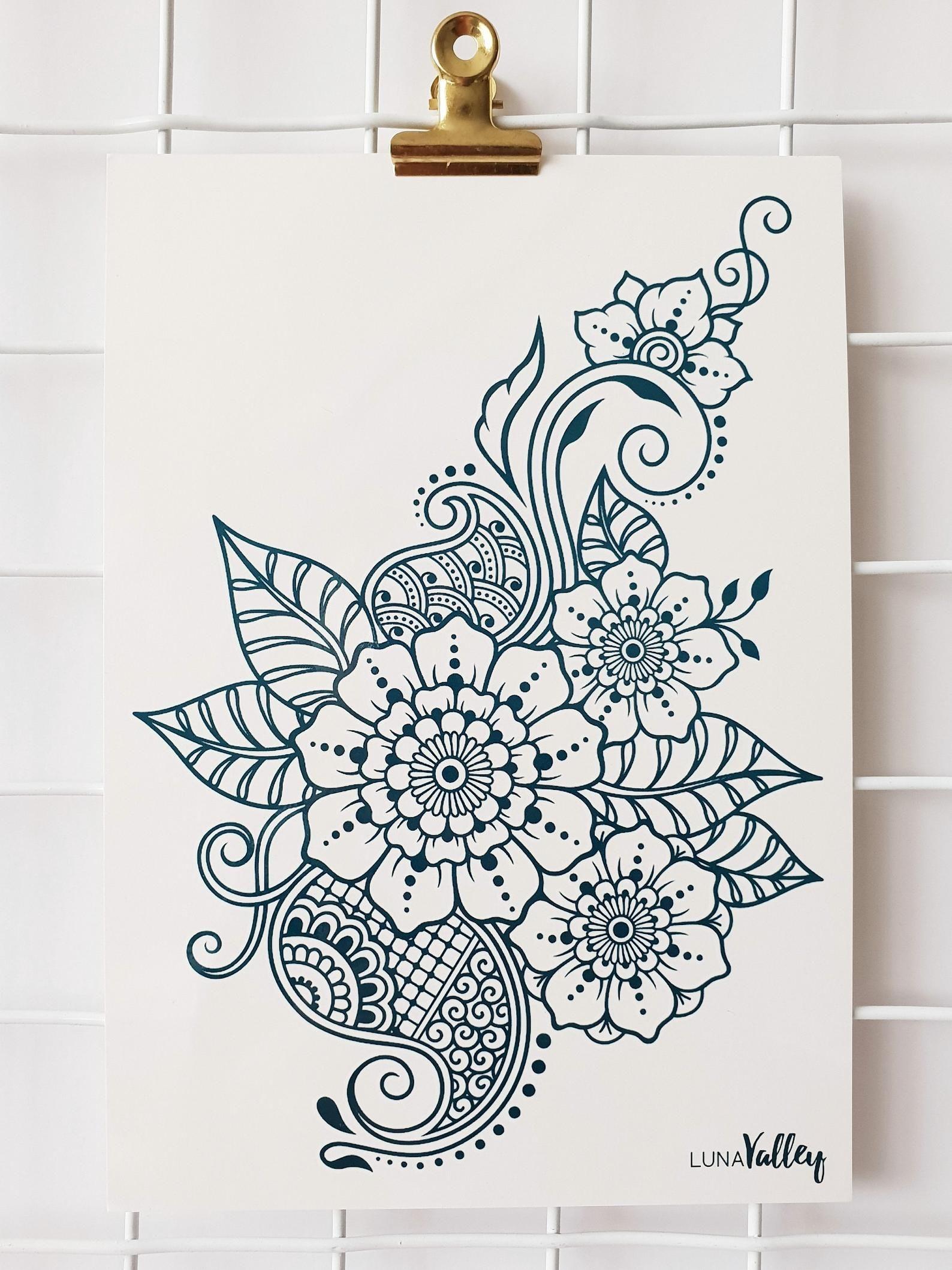 Mendhi Henna patrón de diseño A5 tatuaje temporal boho / indio / vacaciones / festival / regalo de Navidad