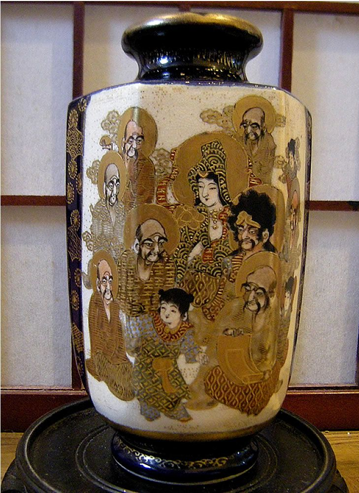 Antique Japanese Meiji Period Cobalt Blue Satsuma Rakan Vase Signed Hotoda Jpg Japanese