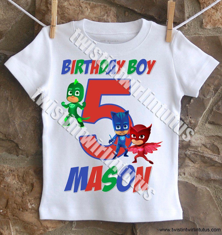 Boys PJ Mask Birthday Shirt