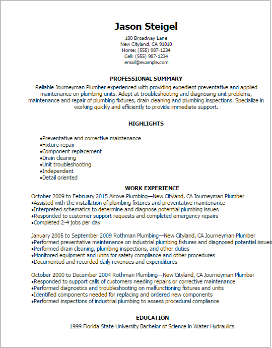 Journeyman Plumber Resume Template  HttpResumesdesignCom