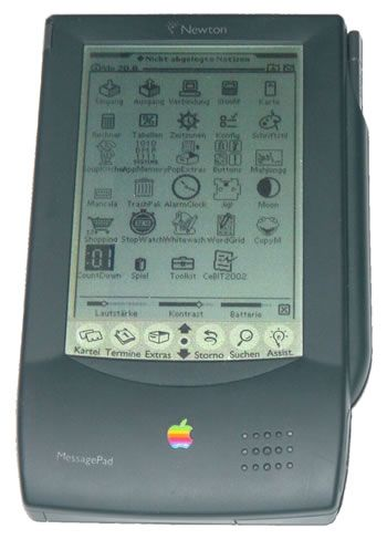 Apples Newton from the 1990's.  A commercial flop, however, it's screen somehow looks incredibly familiar 20 years later. iPod Touch anyone? I so wanted one, but they were so expensive.