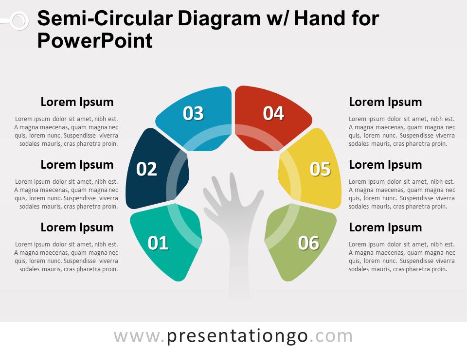 Semi Circular Diagram With Hand For Powerpoint Presentationgo Com Powerpoint Slide Designs Powerpoint Prezi Templates