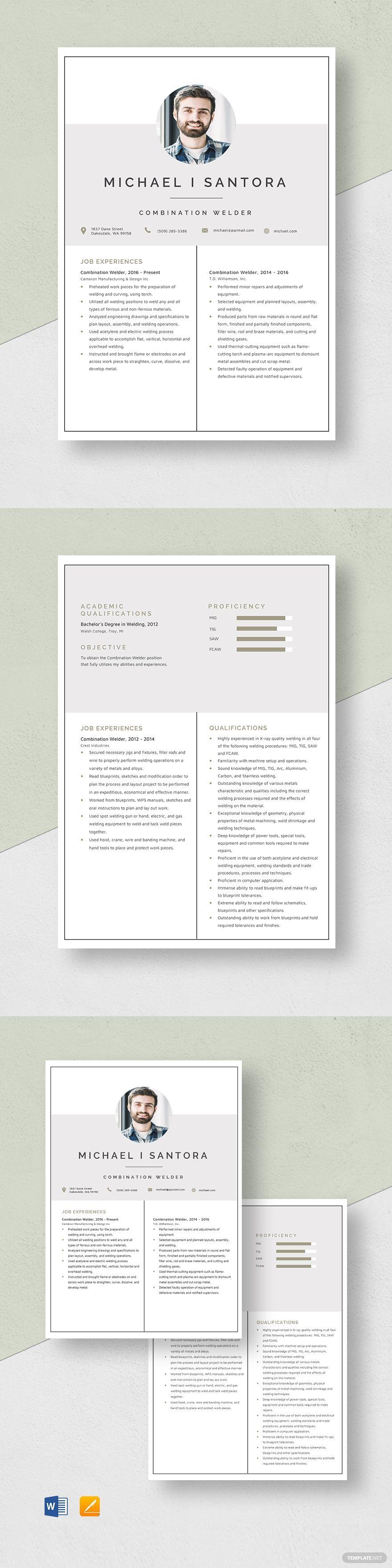 Combination welder resume template in 2020 resume