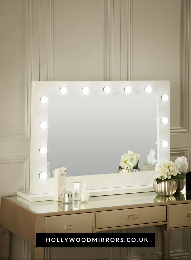 Audrey Hollywood Mirror In White Gloss 80 X 100cm Uk