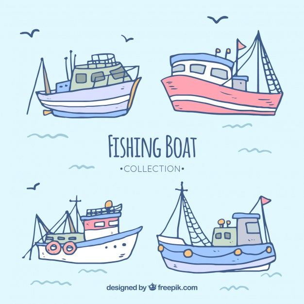 Download Hand Drawn Fishing Boat Collection For Free How To Draw Hands Boat Illustration Fishing Boats