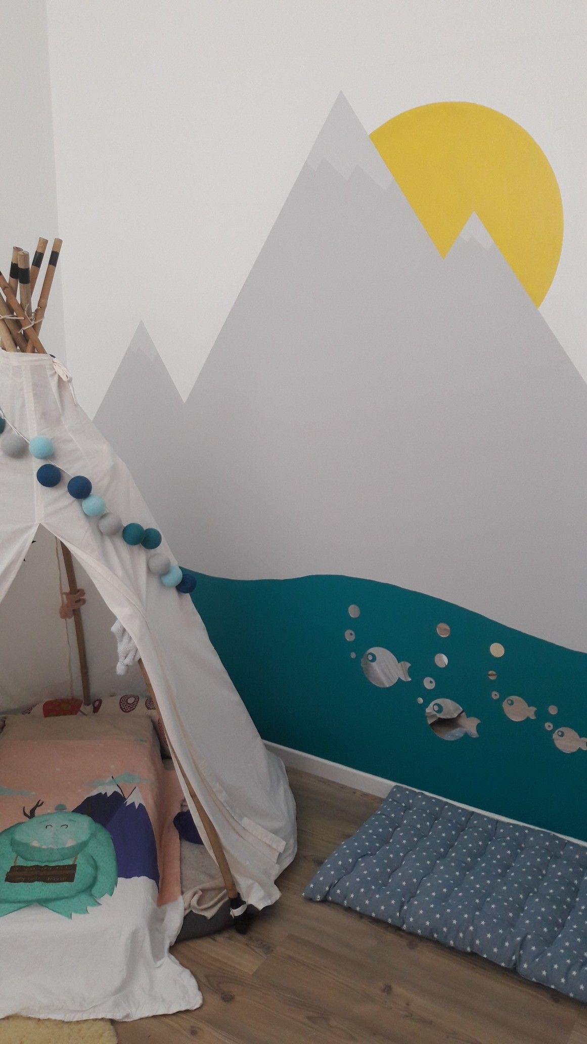 Fresque Mer Et Montagne Et Couchage Au Sol Dans Un Tipi House Design Toddler Bed Home Decor Decals