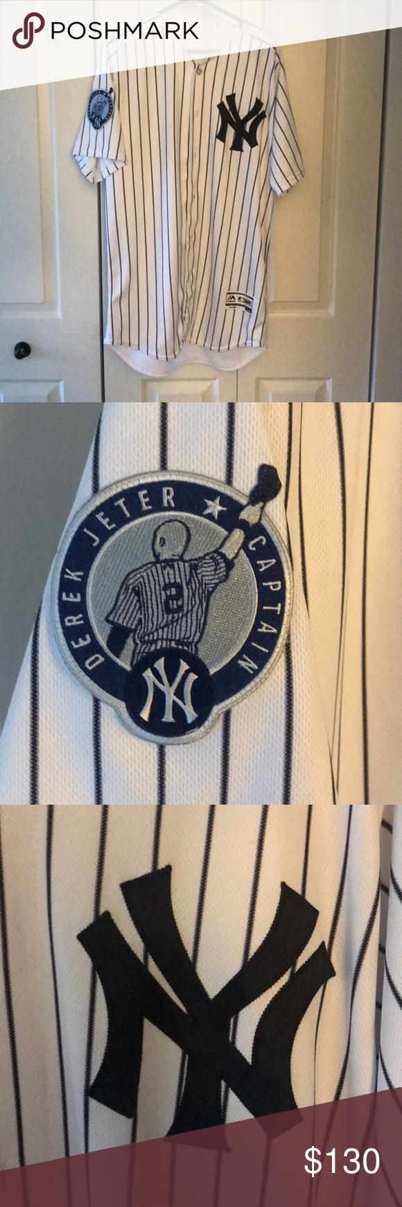 New York Yankees Derek Jeter Captain Patch Jersey Derek Jeter New York Yankees Buster Posey