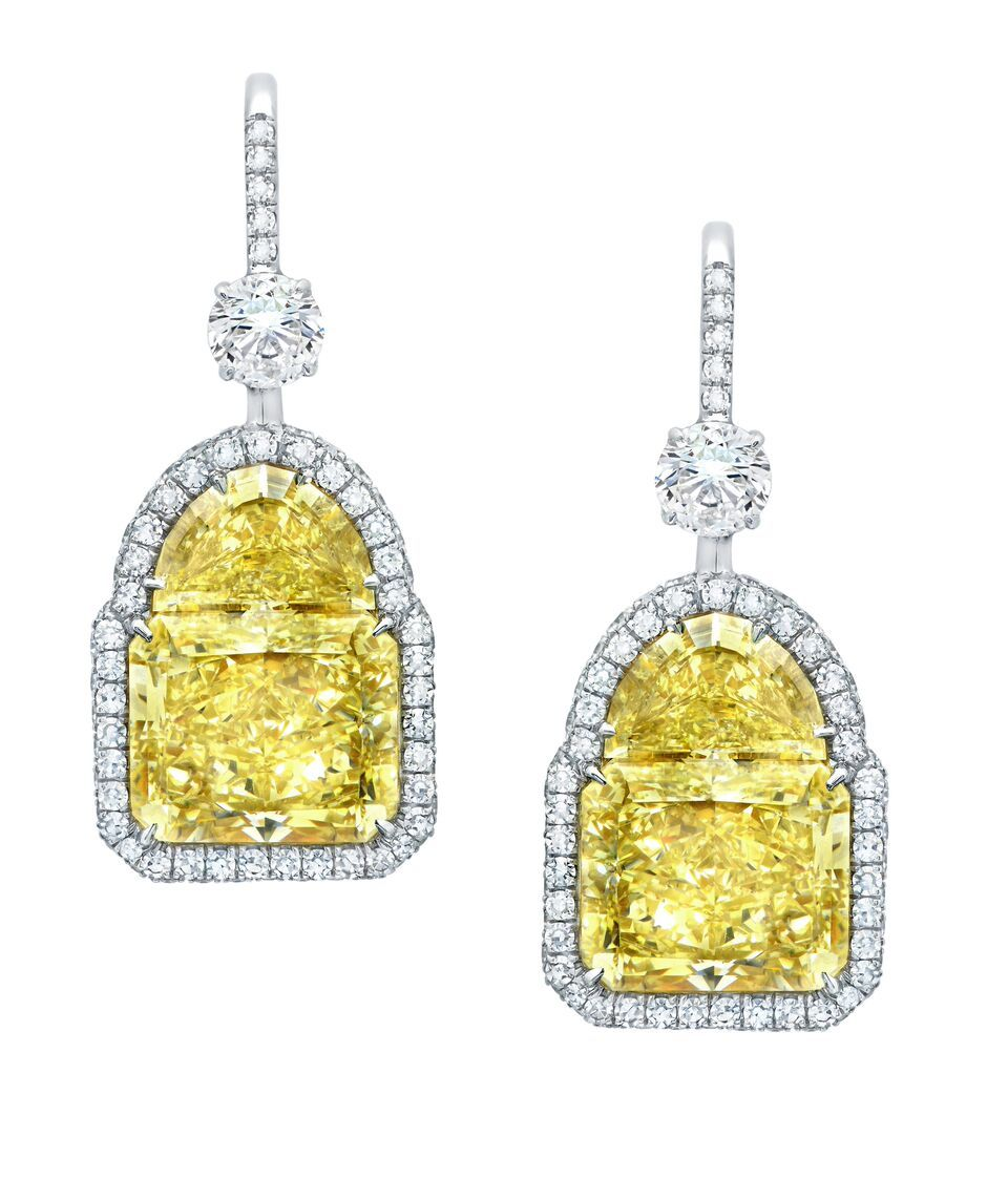 canary cushion drop carat cut de diamond dangle earrings marquise yellow itm white gold