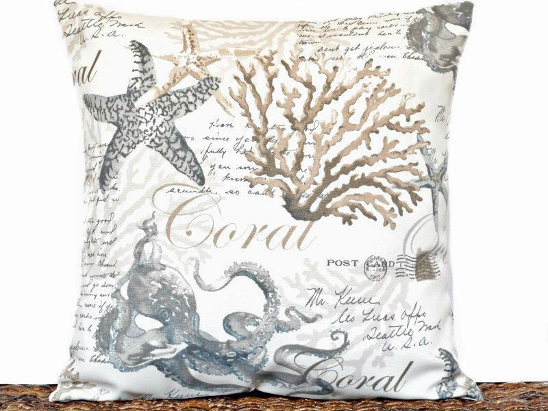 Coastal Pillow Cover Cushion Outdoor Starfish Sea Coral Octopus Script  Summer Tropical Beige Gray Brown Decorative