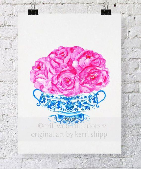 Blue and White China Vase with Pink Roses -