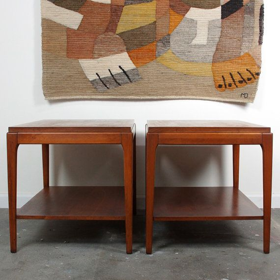 TWO Mid Century Lane Side Tables / Set Of Two Rectangular End Tables /  Vintage 1960s / Solid Wood