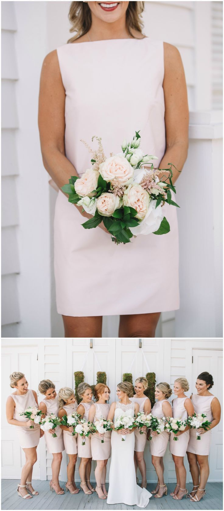 Southern style wedding dresses  Short light pink bridesmaid dresses mod style wedding bouquets of