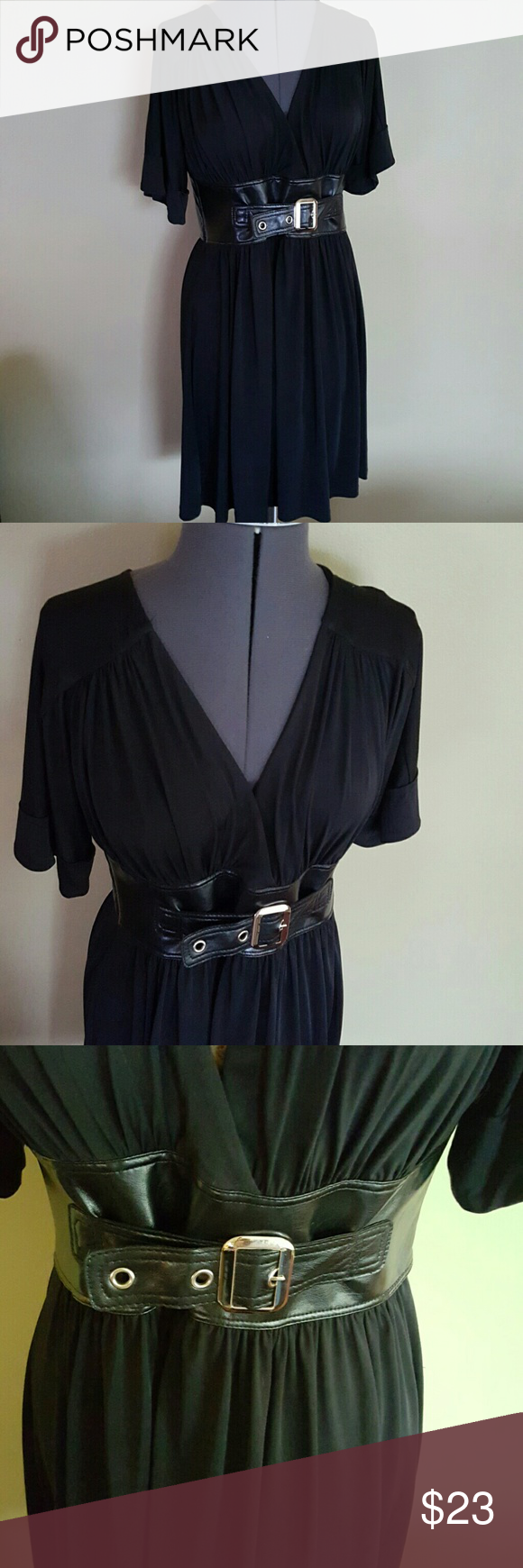 "Allen B Black Deep V Dress Black Allen B. Dress with adjustable black belt.  Short sleeve above or at knee length dress.  Size Medium.  Polyester and Spandex. Length: 34"", Chest: 34/36"", Waist: 28/29"". Allen B Dresses Midi"
