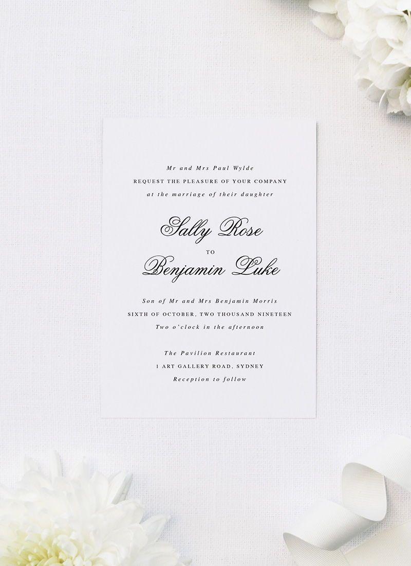 classic elegant script wedding invitations sail and swan