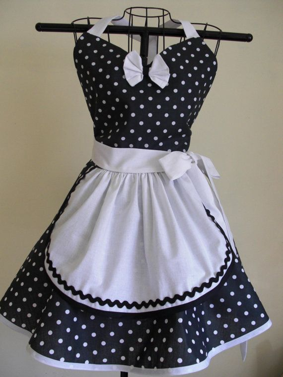 French Maid Apron Pin-up Retro Style Black and White Polka Dots ...