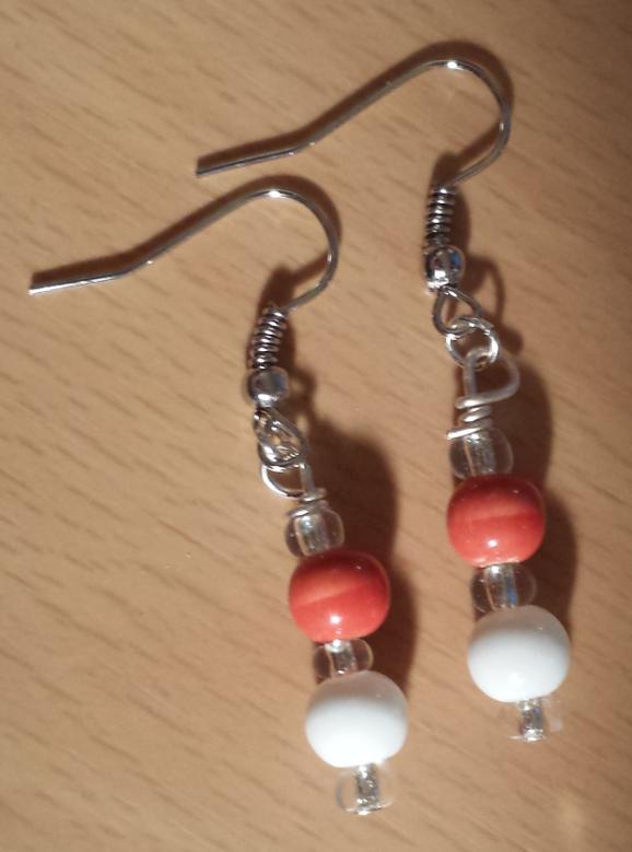Orange & White Beaded Earrings $10