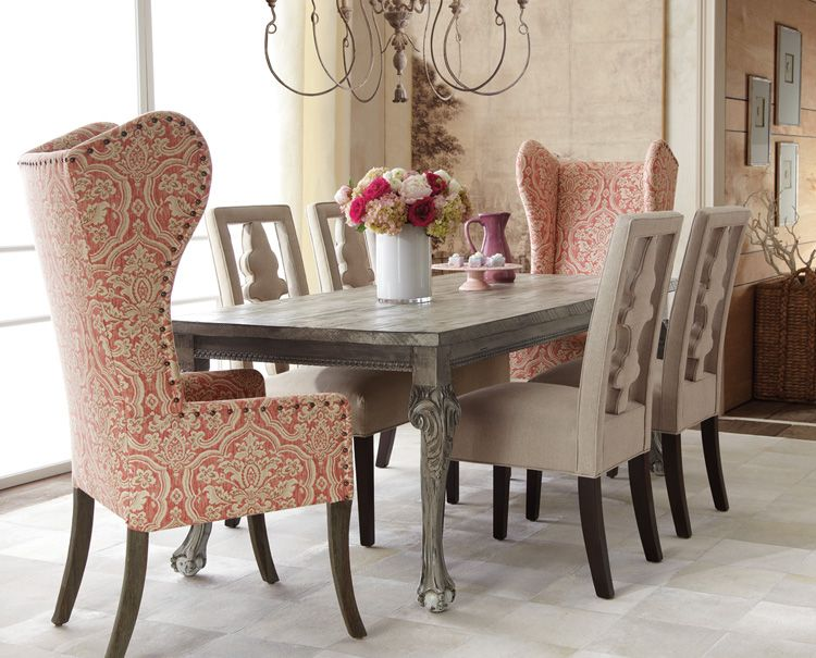 The Print On The Wing Chairs Brings In That Lovely Persimmon Color Custom Upholstered Dining Room Chairs Design Ideas