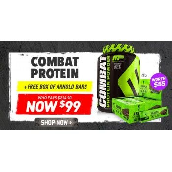 $99.00 (Was $144.95) MUSCLEPHARM COMBAT PROTEIN 4LB + FREE BOX OF ARNOLD BARS @ Shotgun - Bargain Bro