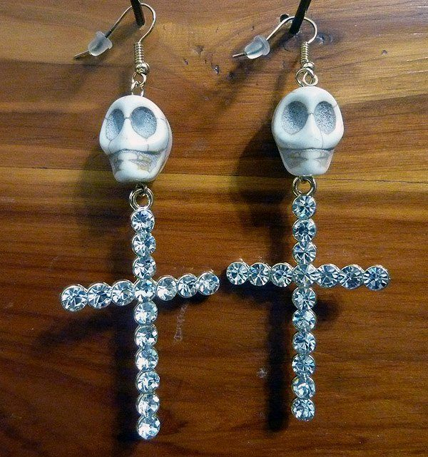 Dia de Los Muertos Skull & Cross Earrings Ivory Carved Stone Gold Crystals Statement Day of the Dead