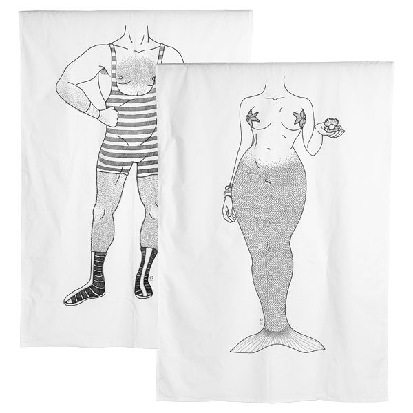 Eugen & Lorelei duvet cover so cute! mermaid on one side, strong man on the other!
