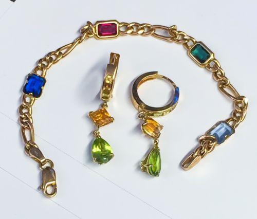 "14K Gold Multi Gemstone 6.75"" Bracelet & 14kt Peridot Citrine Leverback Earrings https://t.co/YSAzcXKSlW https://t.co/450MYlQcWE"