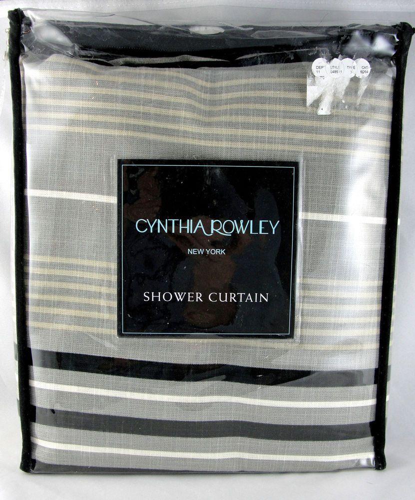 Cynthia Rowley Fringe Pillows: Home CYNTHIA ROWLEY Cotton Striped Shower Curtain Black