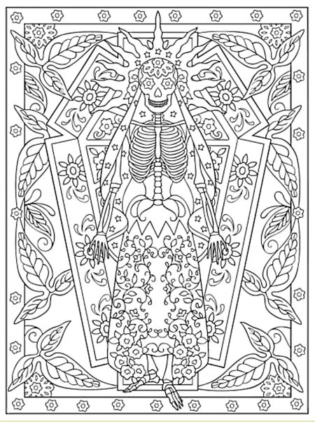 Creative Haven Day Of The Dead Coloring Book Dover Publications Sample Page Mandala Coloring Pages Skull Coloring Pages Coloring Pages