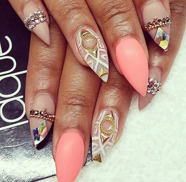 stiletto naturel steentjes roze