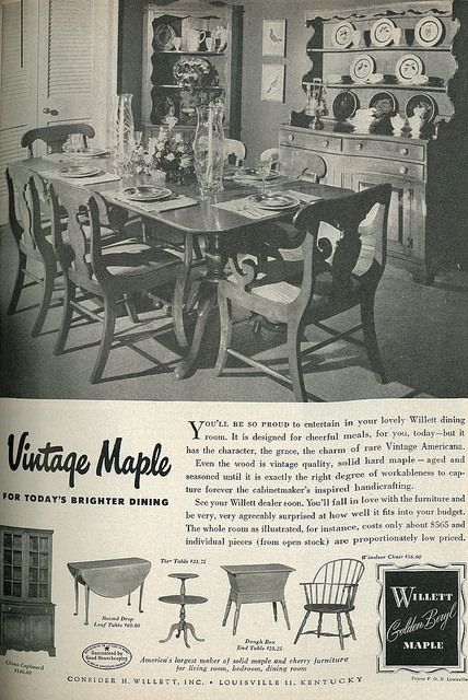 1949 Ad, Willett Vintage Americana 'Golden Beryl' Maple Furniture | par classic_film