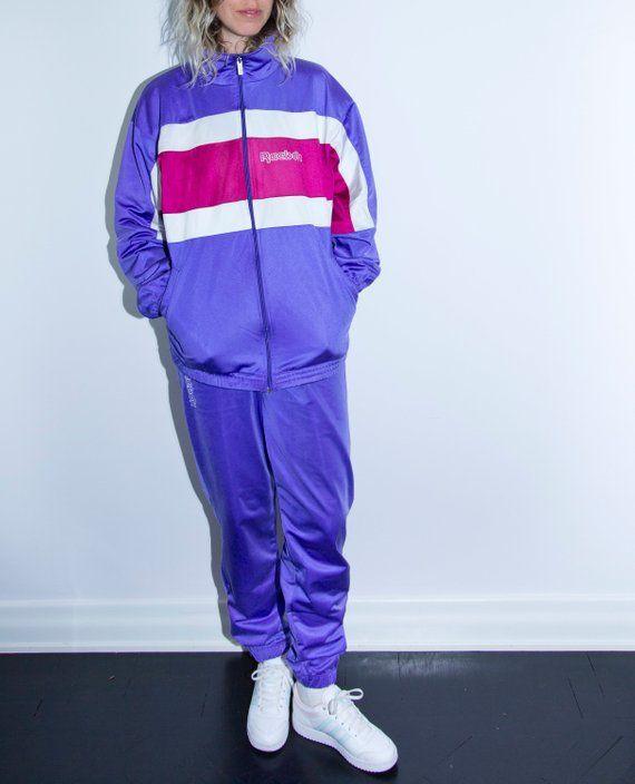 1e206d7e2f08f 80s   90s Reebok Tracksuit 80 s 90 s Vintage Jacket and Pants Purple Retro  Trainee Clothing