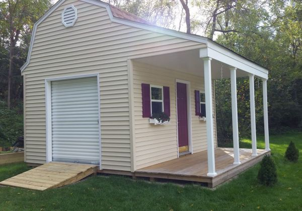 Beautiful 12x16 barn shed with porch with vinyl siding for Shed with porch