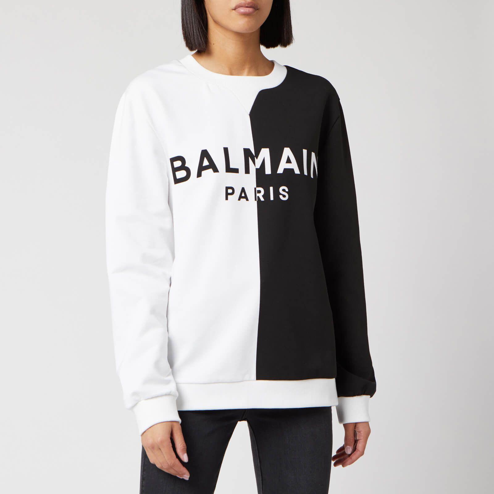 Balmain Women S Bicolored Logo Sweatshirt White Black Xs Usd514 08 White Sweatshirt Sweatshirts Long Sleeve Sweatshirts [ 1600 x 1600 Pixel ]
