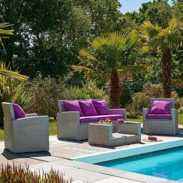 Salon De Jardin Confort 5 Places En Resine Tressee Canape