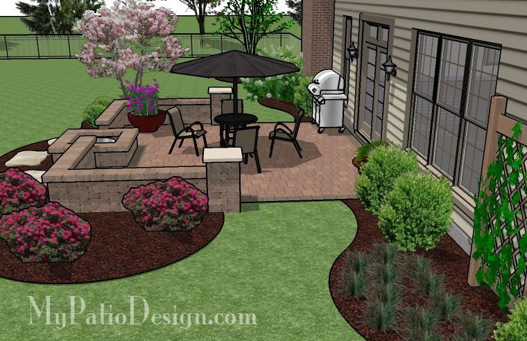 DIY Square Patio Design With Seat Wall And Fire Pit 4 | Backyard .