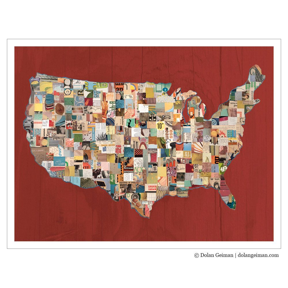 US Map Collage Art Print on Paper, Map (Red). $70.00, via Etsy ...