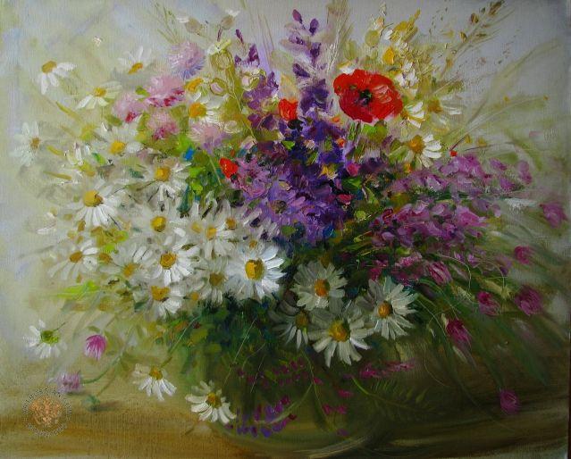 Полевые цветы живопись или фото