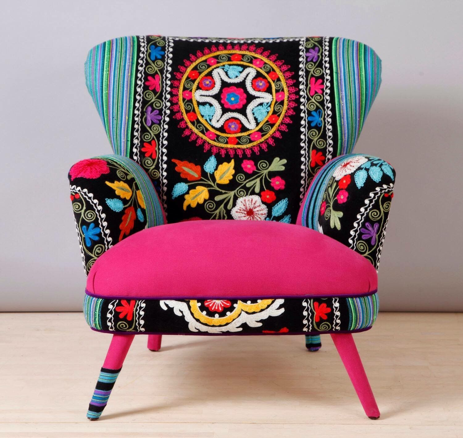 Retro style handmade armchair upholstered with Suzani and ...