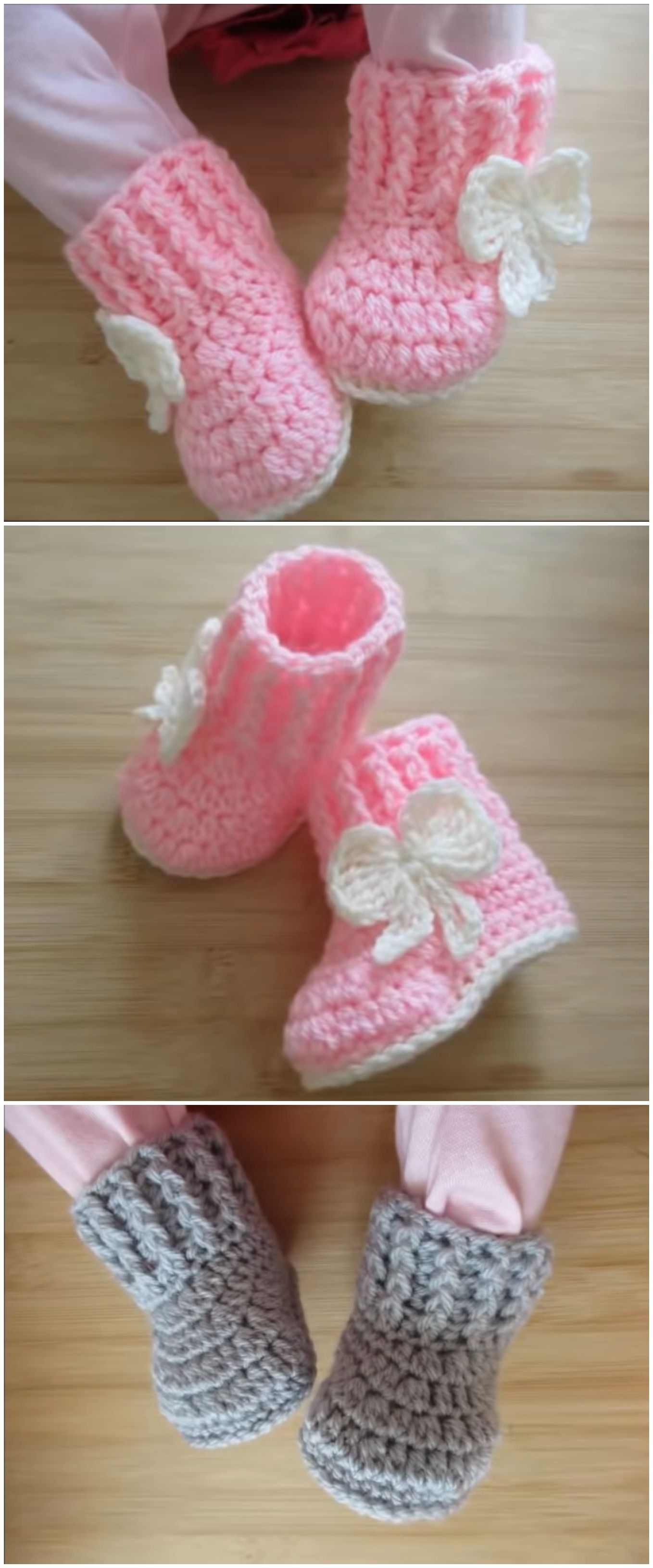 Crochet Fast And Easy Baby Booties #crochetbabyboots
