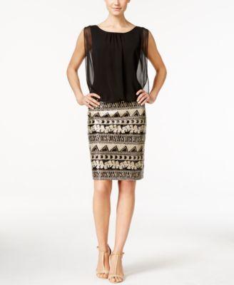 Calvin Klein Sequined Blouson Sheath Dress Clothes