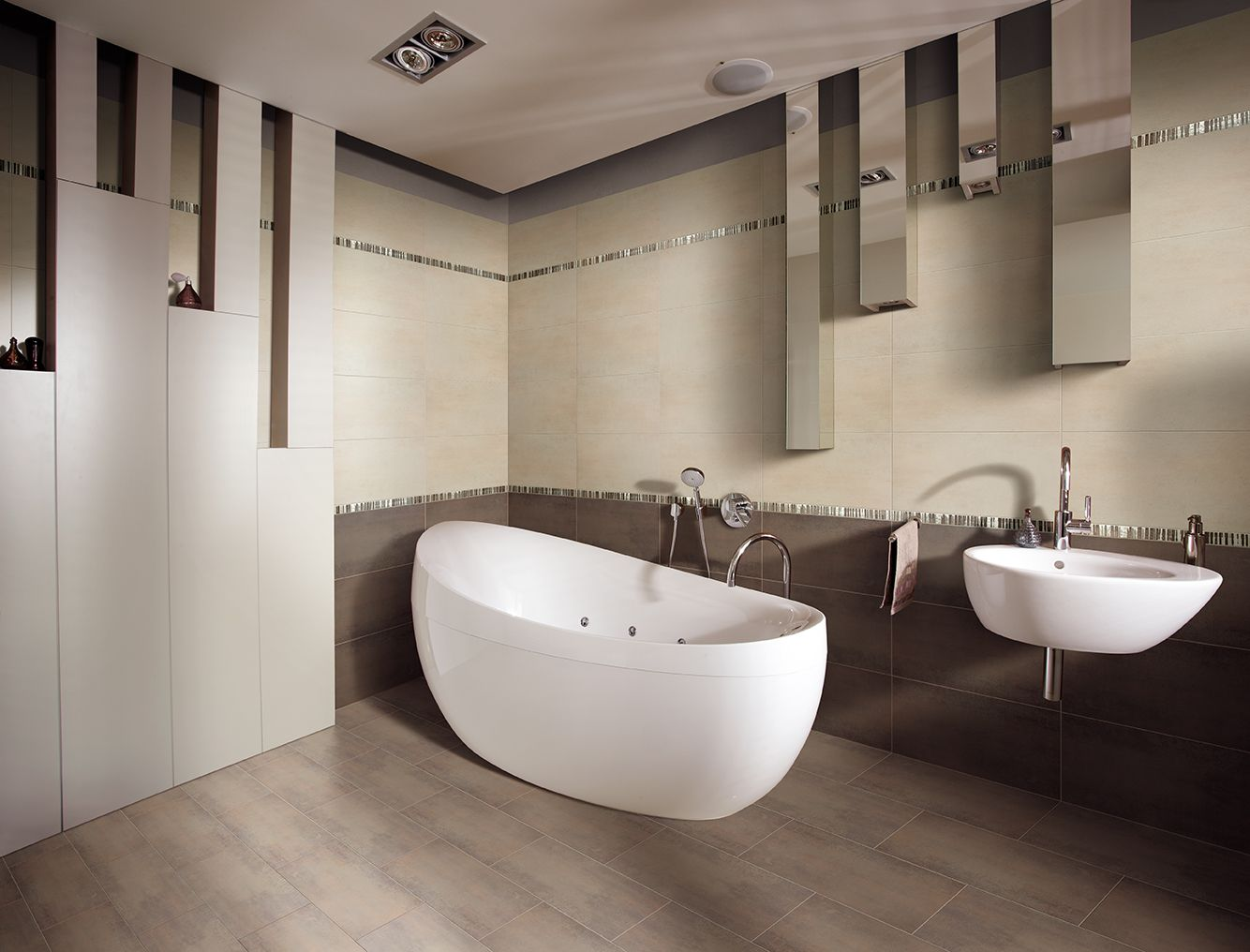 Bagni Moderni Beige E Marrone.Rivestimento Bagno Effetto Marmo Tivoli 1000 Images About