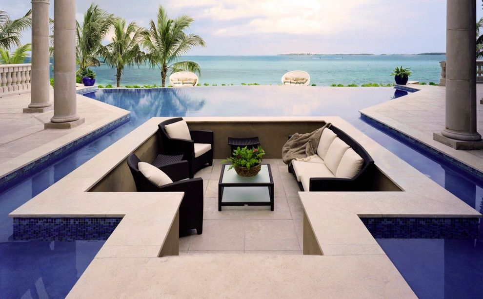 Contemporary Porch with National pool tile jules blue tile, Pathway ...